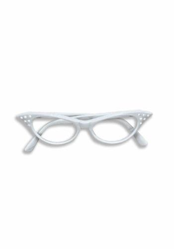 50s White Rhinestone Glasses