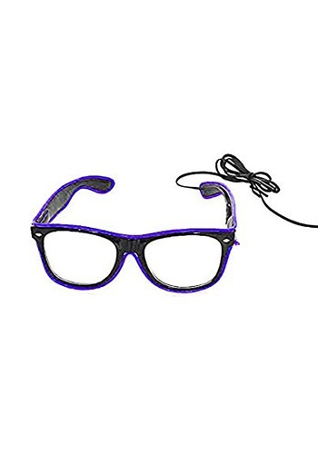 Black Frame EL Wire Purple Light-Up Purple Glasses